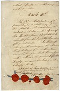Documents Posters - Second Page Of Treaty Of Paris 1783. At Poster by Everett