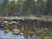 Berkshire Hills Paintings - Second Pond by Len Stomski