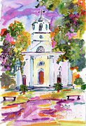 Charleston Painting Posters - Second Presbyterian Church Charleston South Carolina Watercolor Poster by Ginette Callaway