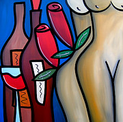 Wine Deco Art Prints - Secret - Nude Wine Art by Fidostudio Print by Tom Fedro - Fidostudio