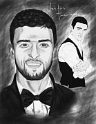 Kenal Louis Drawings Prints - Secret Agent Justin Timberlake Print by Kenal Louis
