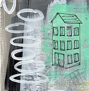 Gray Mixed Media Prints - Secret Cottage Print by Linda Woods