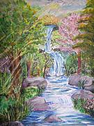 Waterfalls Paintings - Secret Falls by Wendy Smith