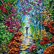 Original Tapestries Textiles - Secret Garden Oil Painting - B. Sasik by Beata Sasik