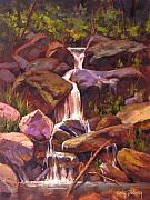 Waterfalls Painting Framed Prints - Secret Jerome Waterfall Framed Print by Cody DeLong