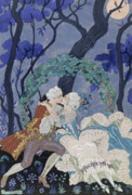 Moonlit Scene Prints - Secret Kiss Print by Georges Barbier