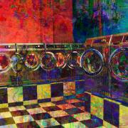 Concealed Framed Prints - Secret Life of Laundromats Framed Print by Barbara Berney