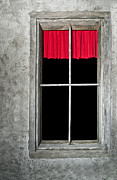 Windowpane Posters - Secret Red Curtain Poster by Carolyn Marshall