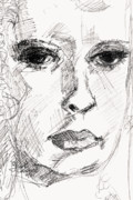 Faces Drawings Posters - Secret Thoughts Poster by Ginette Fine Art LLC Ginette Callaway