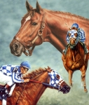 Animal Portrait Greeting Cards Art - Secretariat - the Legend by Thomas Allen Pauly
