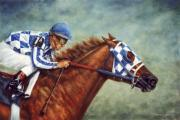 Animal Portrait Paintings - Secretariat - Turcotte up  by Thomas Allen Pauly