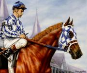 Greeting Cards Paintings - Secretariat at Churchill by Thomas Allen Pauly