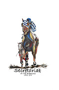 Secretariat Paintings - Secretariat at The Belmont MURAL by Amanda  Sanford