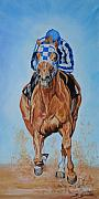 Thoroughbred Race Paintings - Secretariat by Jana Goode