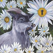 Goat Painting Originals - Secrets Of The Garden - GOAT by Debbie McCulley