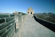 Great Wall Photos - Section of a Great Wall of China with a Watchtower by George Oze