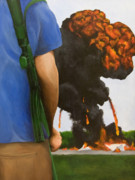 Burning Painting Posters - Security Breach Poster by Josh Bernstein