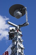 Civil Liberties Photos - Security Camera On Tower. by Mark Williamson