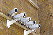 Wall-mounted Prints - Security Cameras Print by Mehau Kulyk