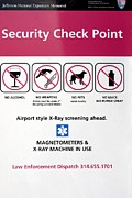 Jefferson National Expansion Memorial Posters - Security Check Point Sign In St Louis Poster by Mark Williamson