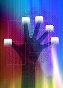 Fingertips Prints - Security Scanning Technology, Artwork Print by Victor Habbick Visions
