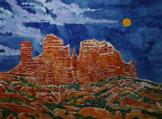 Greeting  Cards. Arizona Paintings - Sedona Arizona Moon by Donald McGibbon