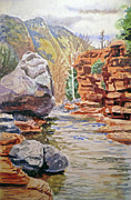 Slide Painting Prints - Sedona Arizona- Slide Creek Print by Irina Sztukowski