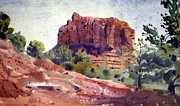 Plein Air Painting Posters - Sedona Butte Poster by Donald Maier