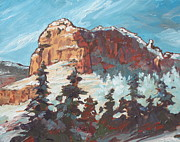 Sedona Painting Prints - Sedona Snow Print by Sandy Tracey