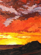Sedona Paintings - Sedona Sunset 2 by Sandy Tracey