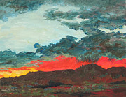 Storm Clouds Paintings - Sedona Sunset by Sandy Tracey