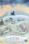 See Rabbits Playing Haiku And Illustration Print by Dawn Senior-Trask