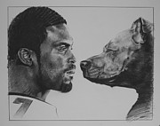 Sports Portrait Drawings Drawings - See Vick Run by Paul Autodore