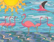 Flamingo Drawings Prints - Seeing Pink Print by Pamela Schiermeyer