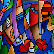 Cityscapes Paintings - Seeing Sounds - Abstract Pop Art by Fidostudio by Tom Fedro - Fidostudio