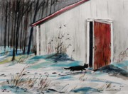 Snowscape Drawings - Seeking Shelter by John  Williams