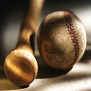 Baseball Seams Photo Metal Prints - Seen Many A Game Metal Print by Florene Welebny