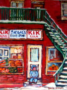 Quebec Paintings - Segals Market St.lawrence Boulevard Montreal by Carole Spandau