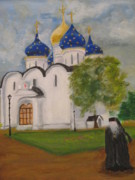 Russian Orthodox Painting Originals - Segiev Posad St Sergius Monastry Russia by Thea David