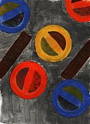 Gouache Abstract Paintings - Segments 3 by David Townsend