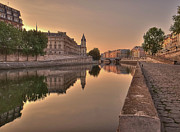 Building Prints - Seine River In Morning, Paris Print by Stéphanie Benjamin