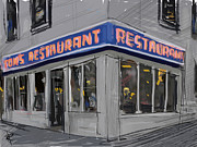 Cityscape Mixed Media Posters - Seinfeld Restaurant Poster by Russell Pierce