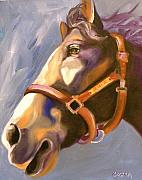 Horse Drawings Posters - Seize the Day Poster by Susan A Becker