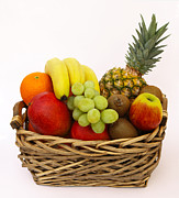 White Grape Photos - Selection Of Tempting Fresh Fruits In A Basket by Rosemary Calvert