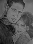 Indian Portrait In Pencil Paintings - Self and Hubby Portrait by Shakhenabat Kasana