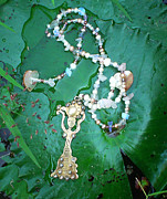 Floral Jewelry Metal Prints - Self-Esteem Necklace with Offerings Goddess Pendant Metal Print by Jelila Jelila