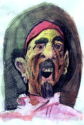 Ball Point Pen Paintings - Self in Pirate Mask by John Baker