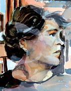 Pondering Prints - Self Portrait 2002 Print by Mindy Newman