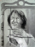 Mirror Drawings - Self Portrait 2011 by Art Nomad Sandra  Hansen