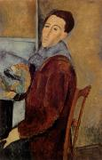 Amedeo Modigliani Framed Prints - Self Portrait Framed Print by Amedeo Modigliani